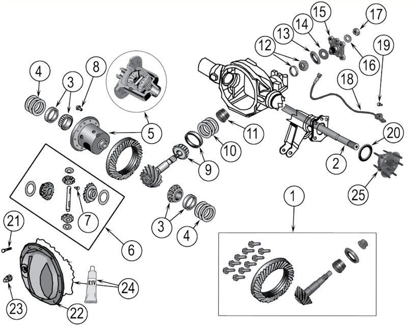 diagramme Essieux Jeep WK/WH Grand Cherokee 2005/2010