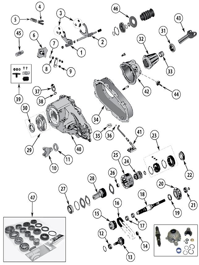 Diagrama Caja de transferencia Jeep YJ Wrangler 1986/1996