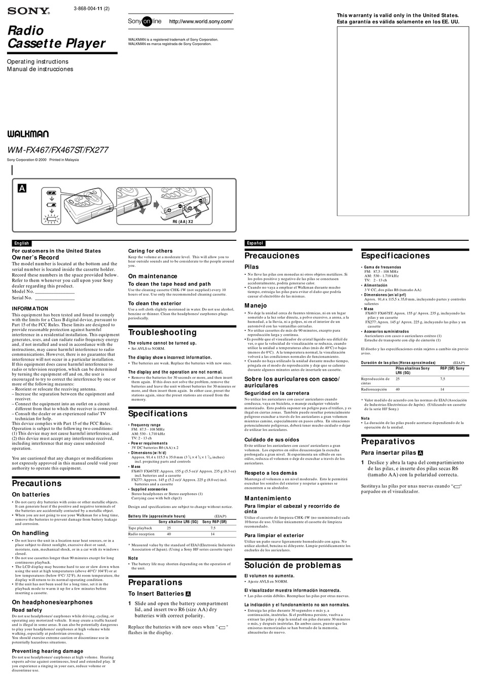 SONY WALKMAN FX277 OPERATING INSTRUCTIONS Pdf Download