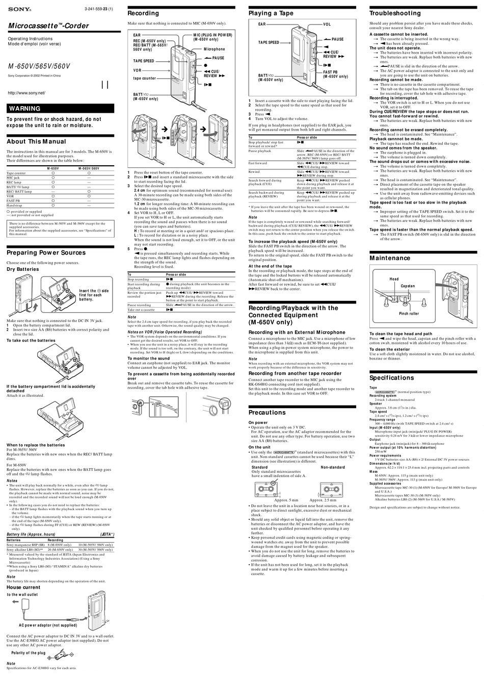 SONY M-565V OPERATING INSTRUCTIONS (PRIMARY MANUAL