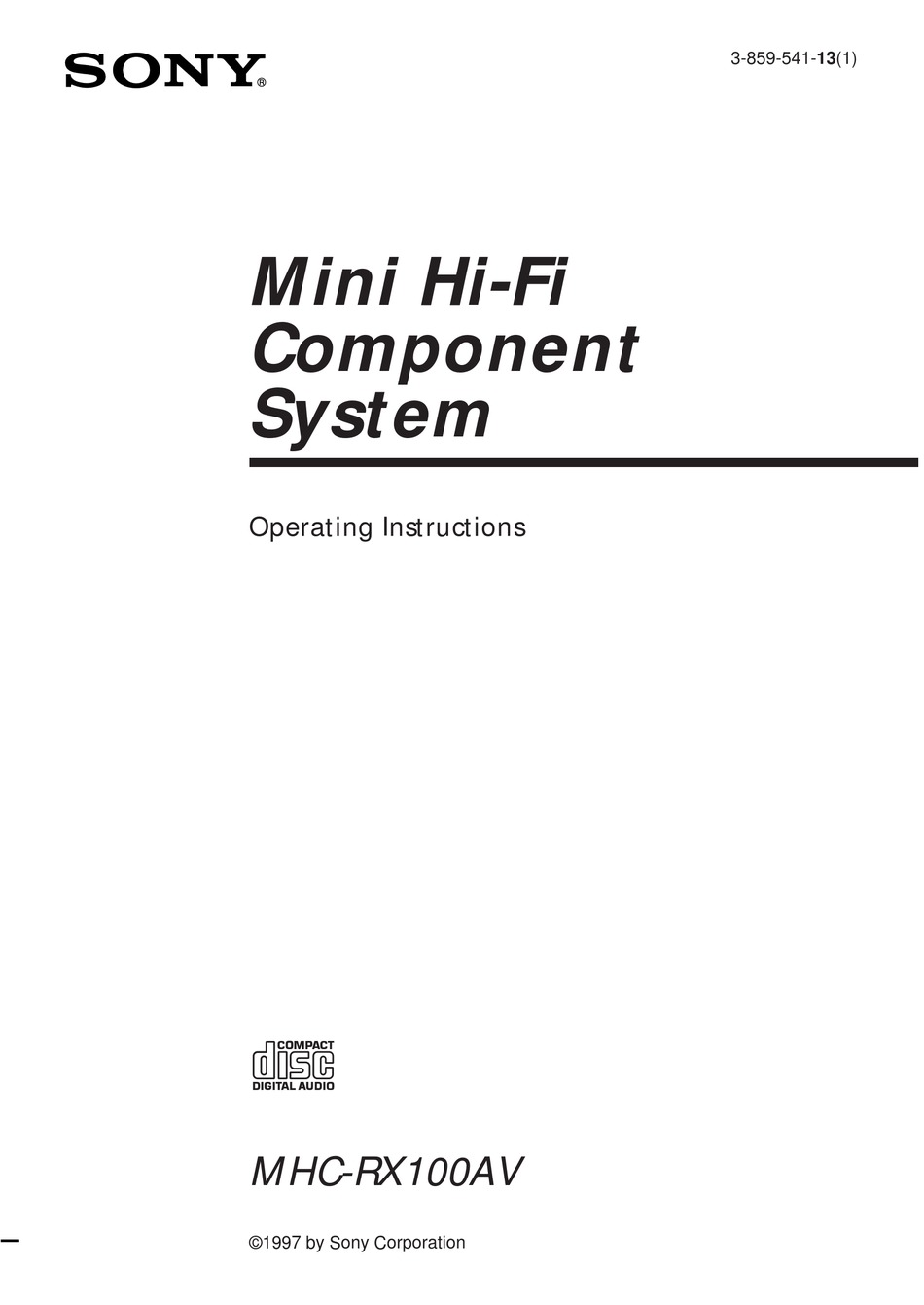 SONY MHC-RX100AV OPERATING INSTRUCTIONS MANUAL Pdf