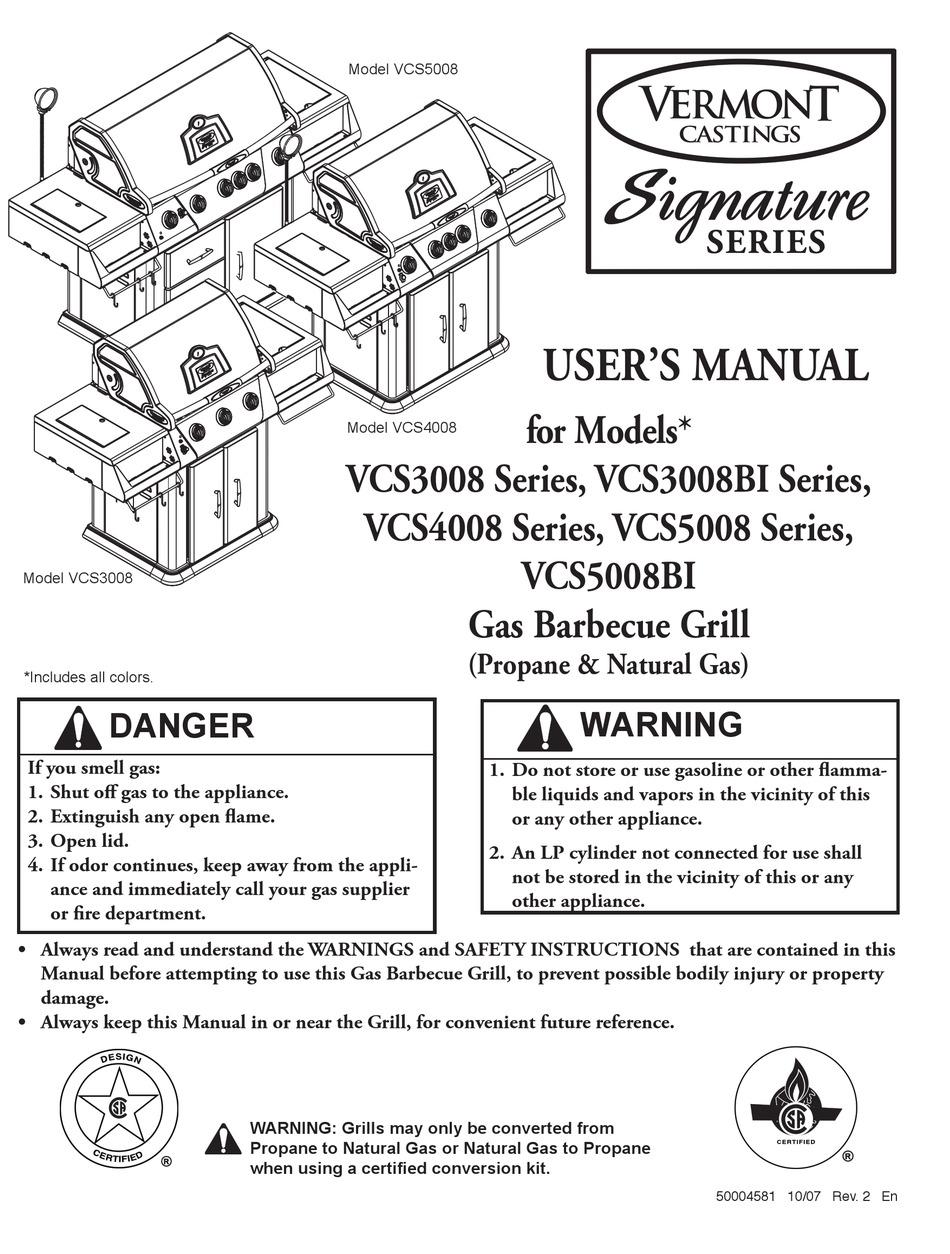 VERMONT CASTINGS SIGNATURE VCS3008 SERIES USER MANUAL Pdf