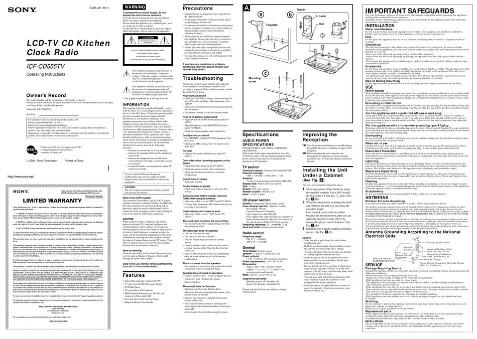 SONY ICF-CD555TV OPERATING INSTRUCTIONS (PRIMARY MANUAL