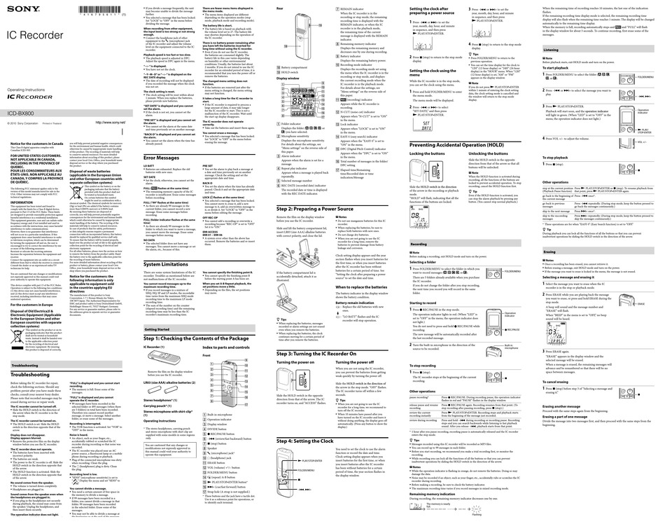 SONY ICD-BX800 OPERATING INSTRUCTIONS Pdf Download