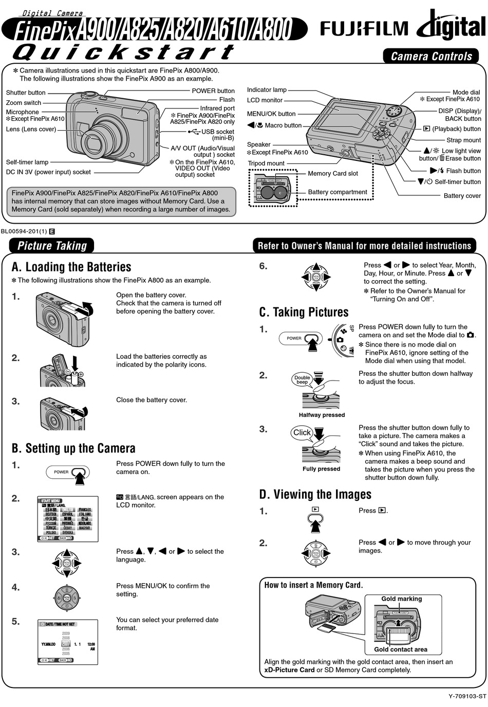 FUJIFILM FINEPIX A610 QUICK START MANUAL Pdf Download