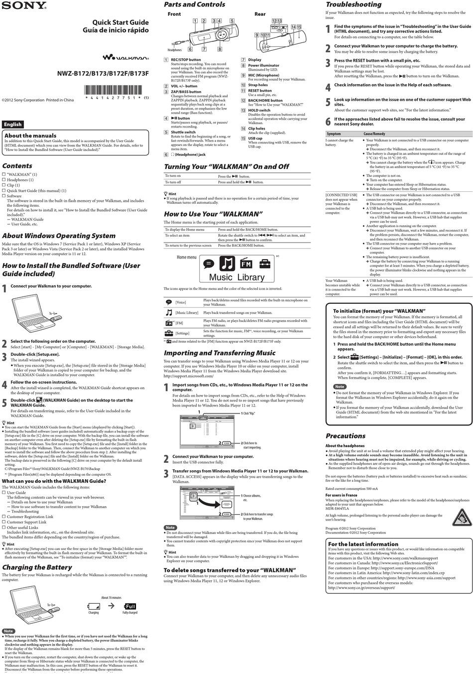 Sony Walkman Mp3 Player Manual Nwz-S545 / Sony Walkman Nwz