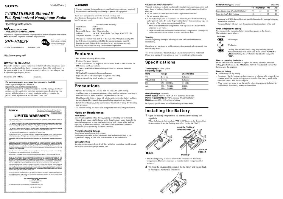 SONY WALKMAN SRF-HM03V OPERATING INSTRUCTIONS Pdf Download