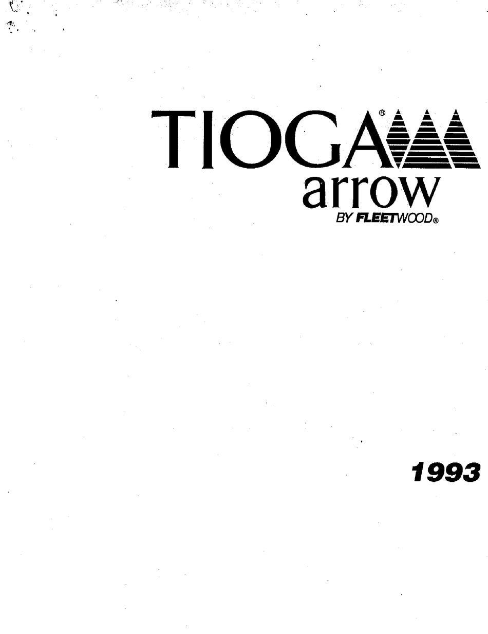 FLEETWOOD 1993 TIOGA ARROW USER MANUAL Pdf Download