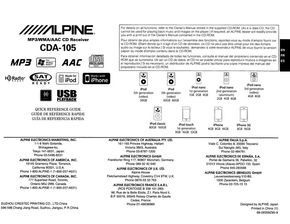 ALPINE CDA-105 QUICK REFERENCE MANUAL Pdf Download