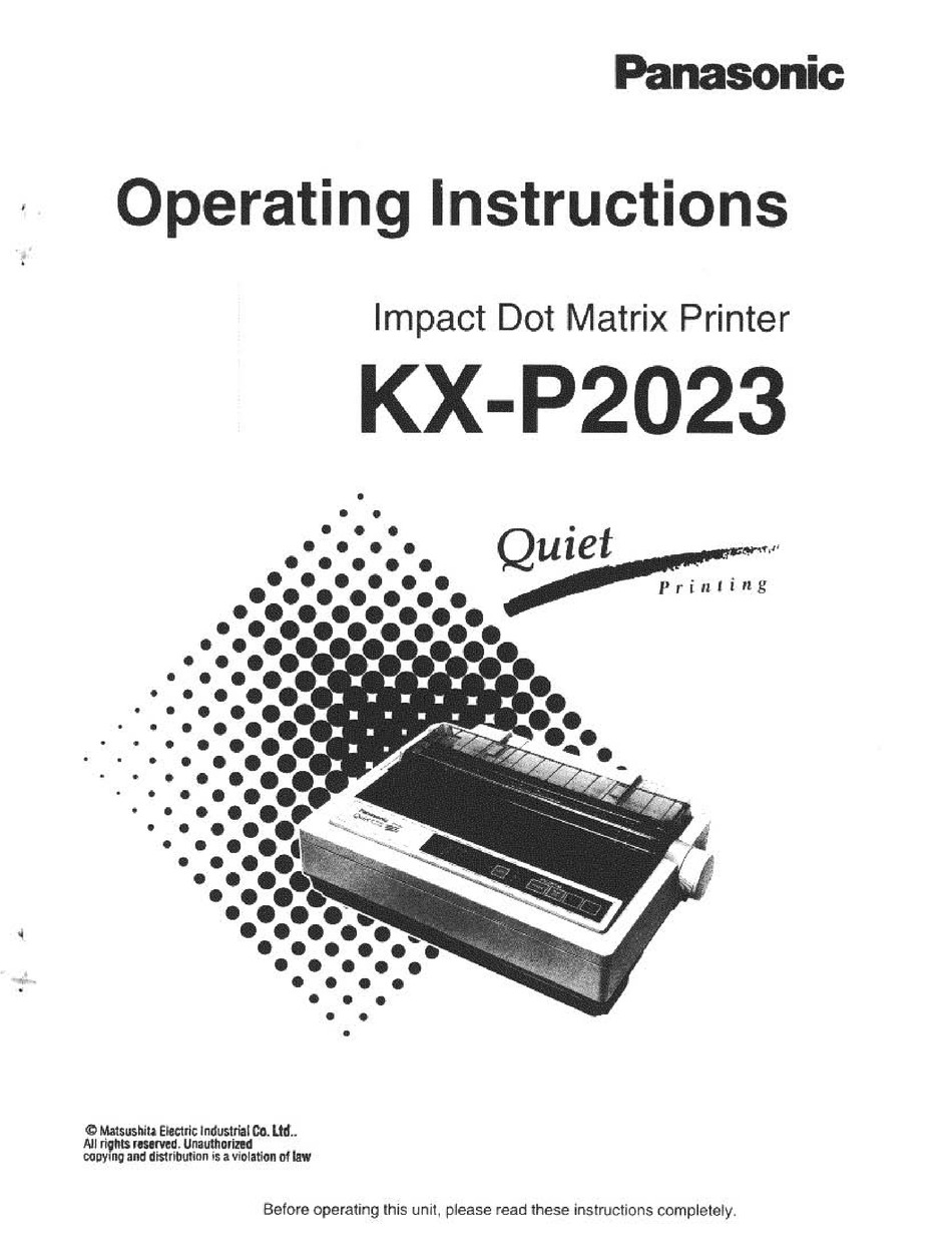 PANASONIC KX-P2023 OPERATING INSTRUCTIONS MANUAL Pdf