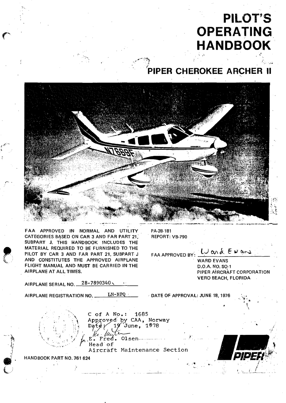 PIPER CHEROKEE ARCHER II PILOT OPERATING HANDBOOK Pdf