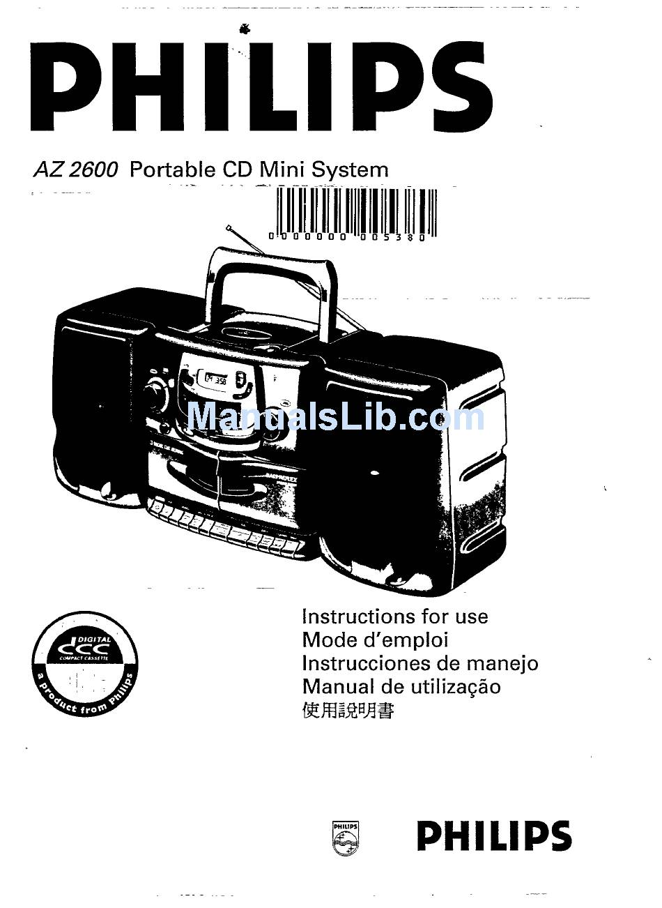 PHILIPS AZ 2600 INSTRUCTIONS FOR USE MANUAL Pdf Download
