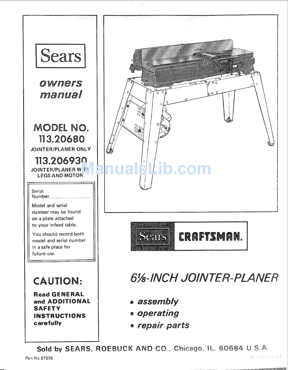 SEARS CRAFTSMAN 113.20680 OWNER'S MANUAL Pdf Download