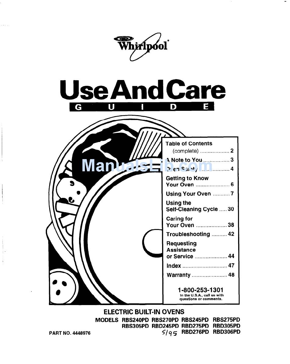 WHIRLPOOL RBD245PD USE AND CARE MANUAL Pdf Download