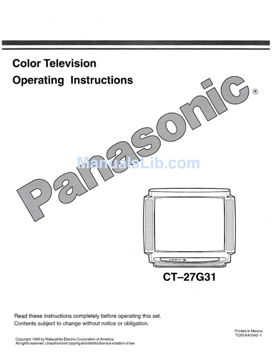 PANASONIC CT-27G31 OPERATING INSTRUCTIONS MANUAL Pdf