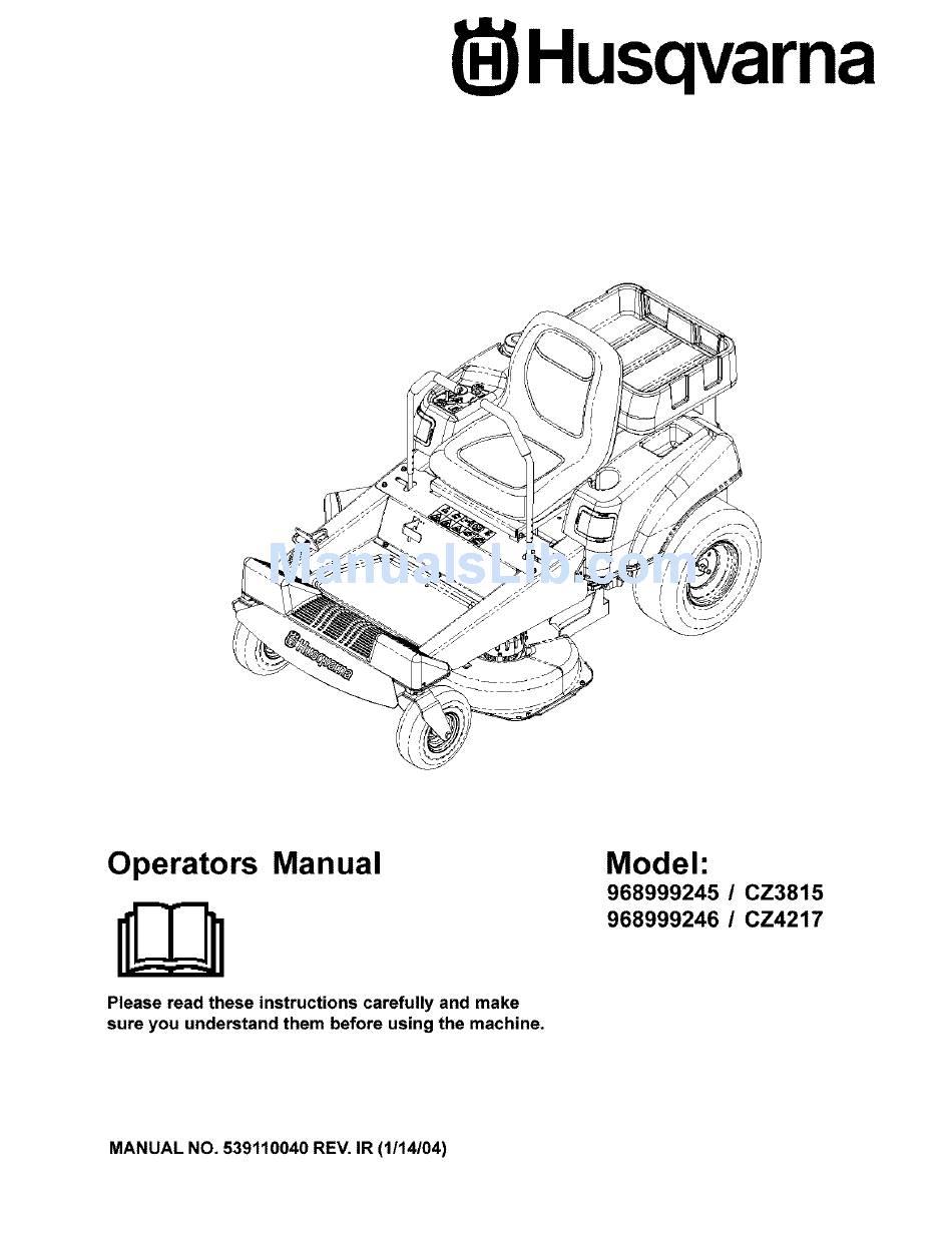 HUSQVARNA 968999245/ CZ3815 OPERATOR'S MANUAL Pdf Download