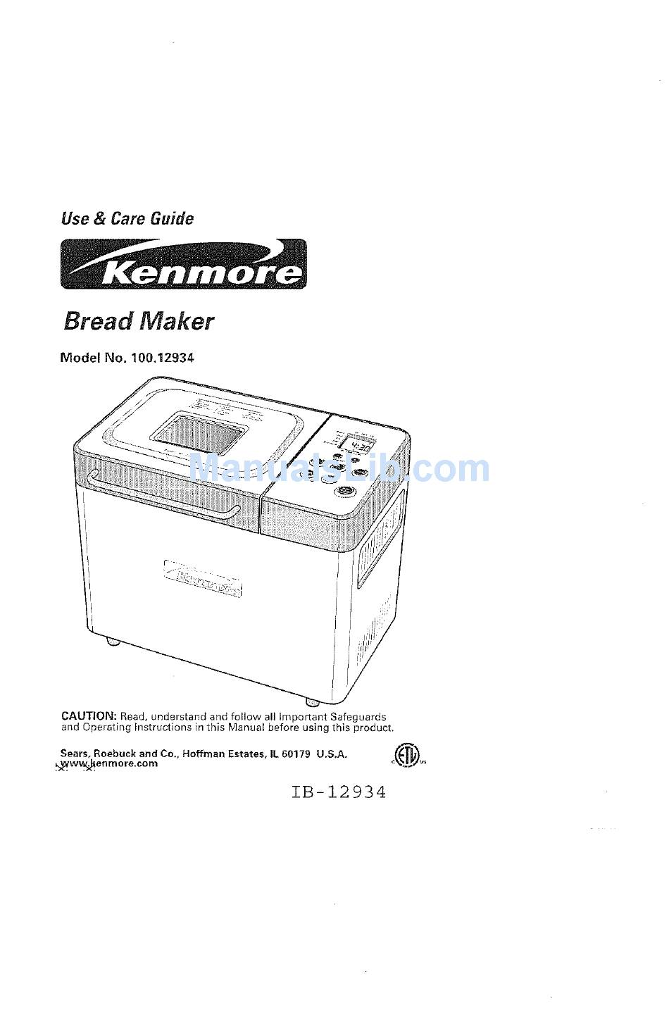 KENMORE 100.12934 USE AND CARE MANUAL Pdf Download
