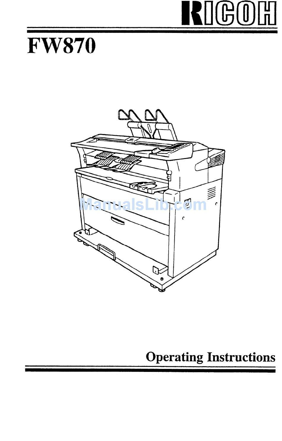 RICOH FW870 OPERATING INSTRUCTIONS MANUAL Pdf Download