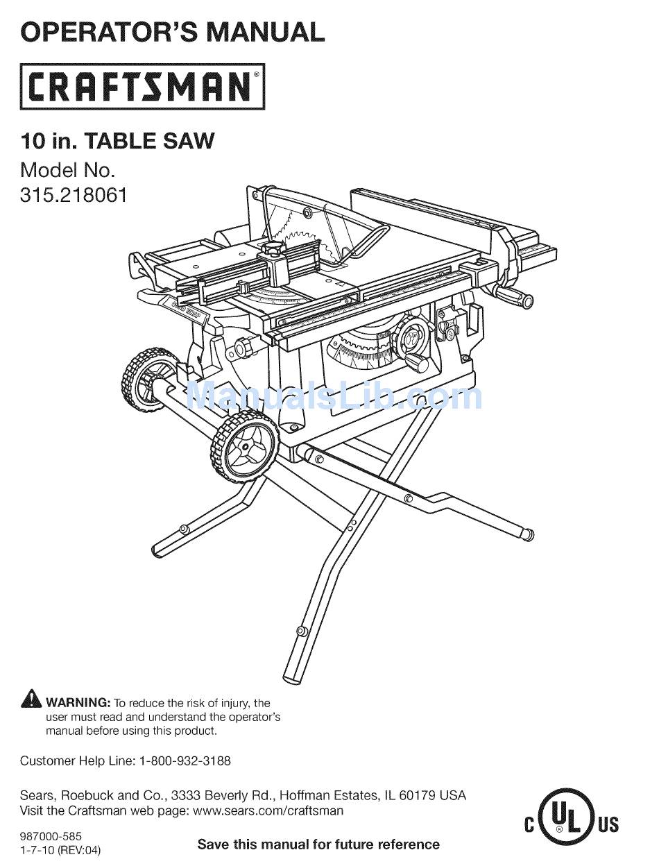 CRAFTSMAN 315.218061 OPERATOR'S MANUAL Pdf Download