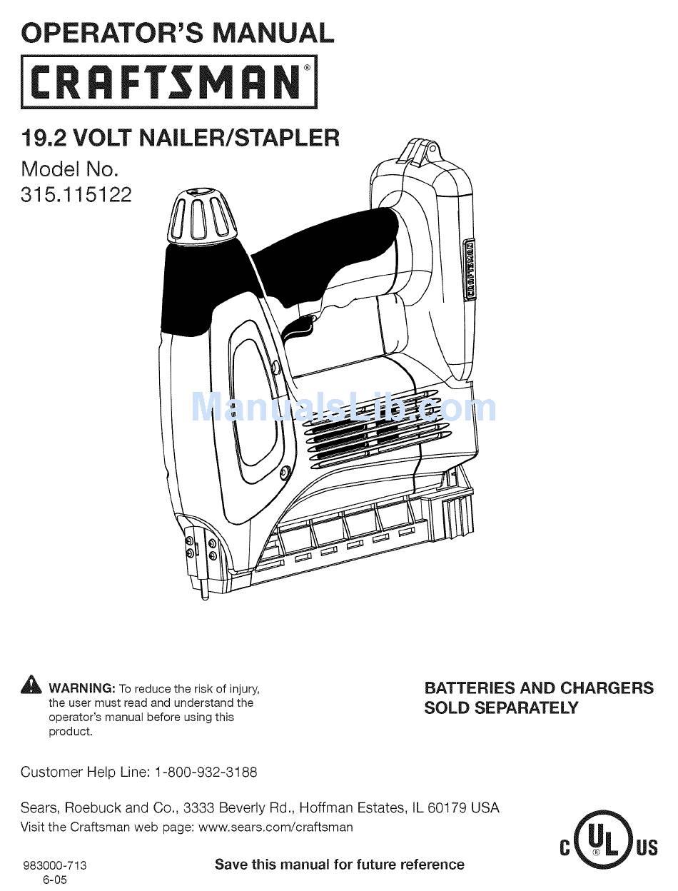 CRAFTSMAN 315.115122 OPERATOR'S MANUAL Pdf Download