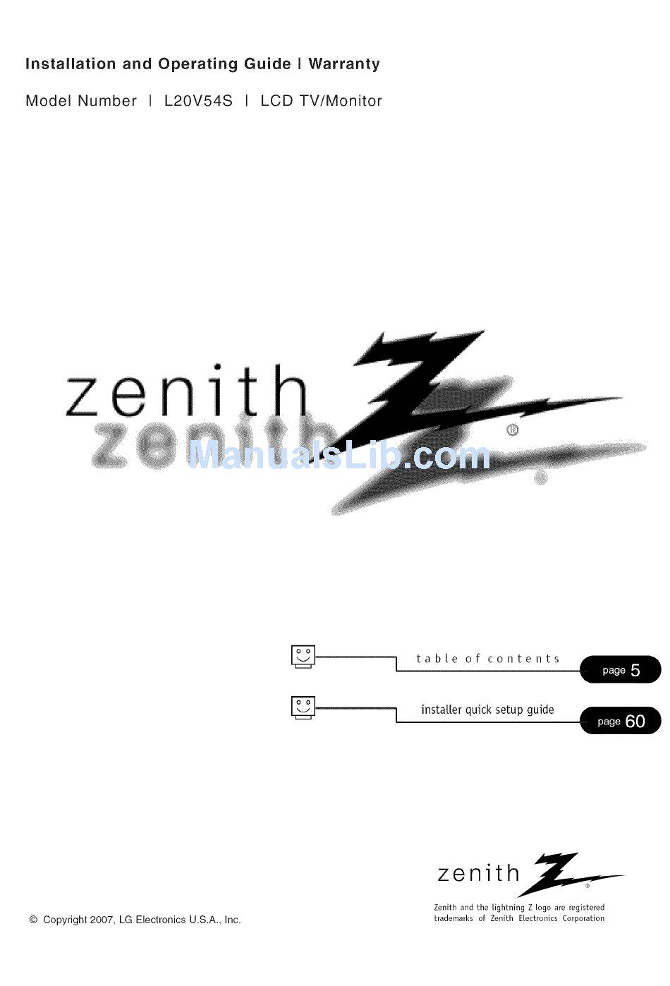 ZENITH L20V54S INSTALLATION AND OPERATING MANUAL Pdf