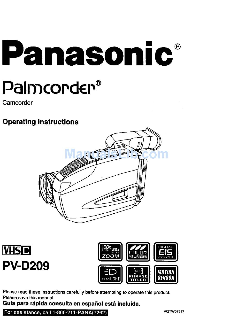PANASONIC PALMCORDER PV-D209 OPERATING INSTRUCTIONS MANUAL