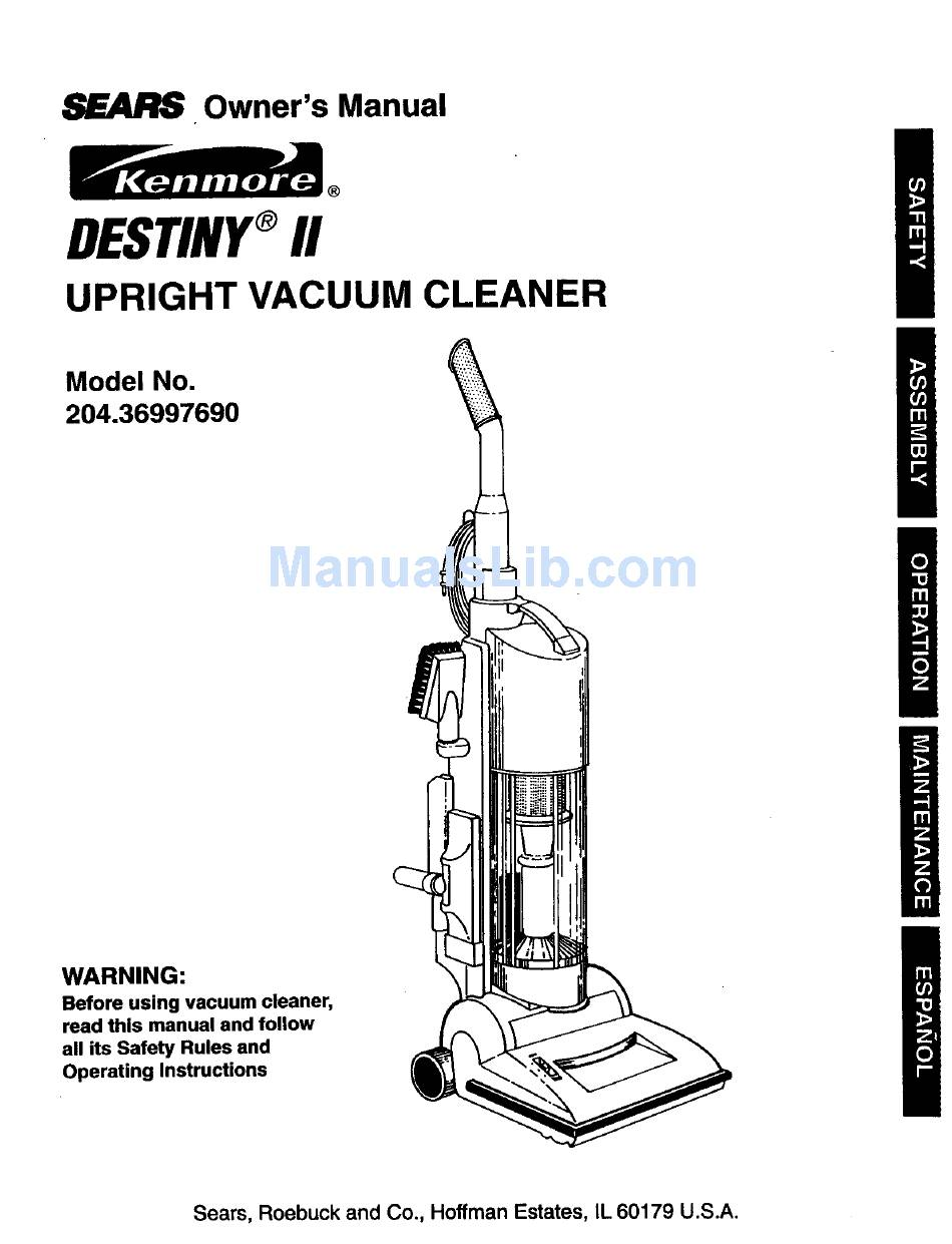 KENMORE SEARS DESTINY II 204.36997690 OWNER'S MANUAL Pdf