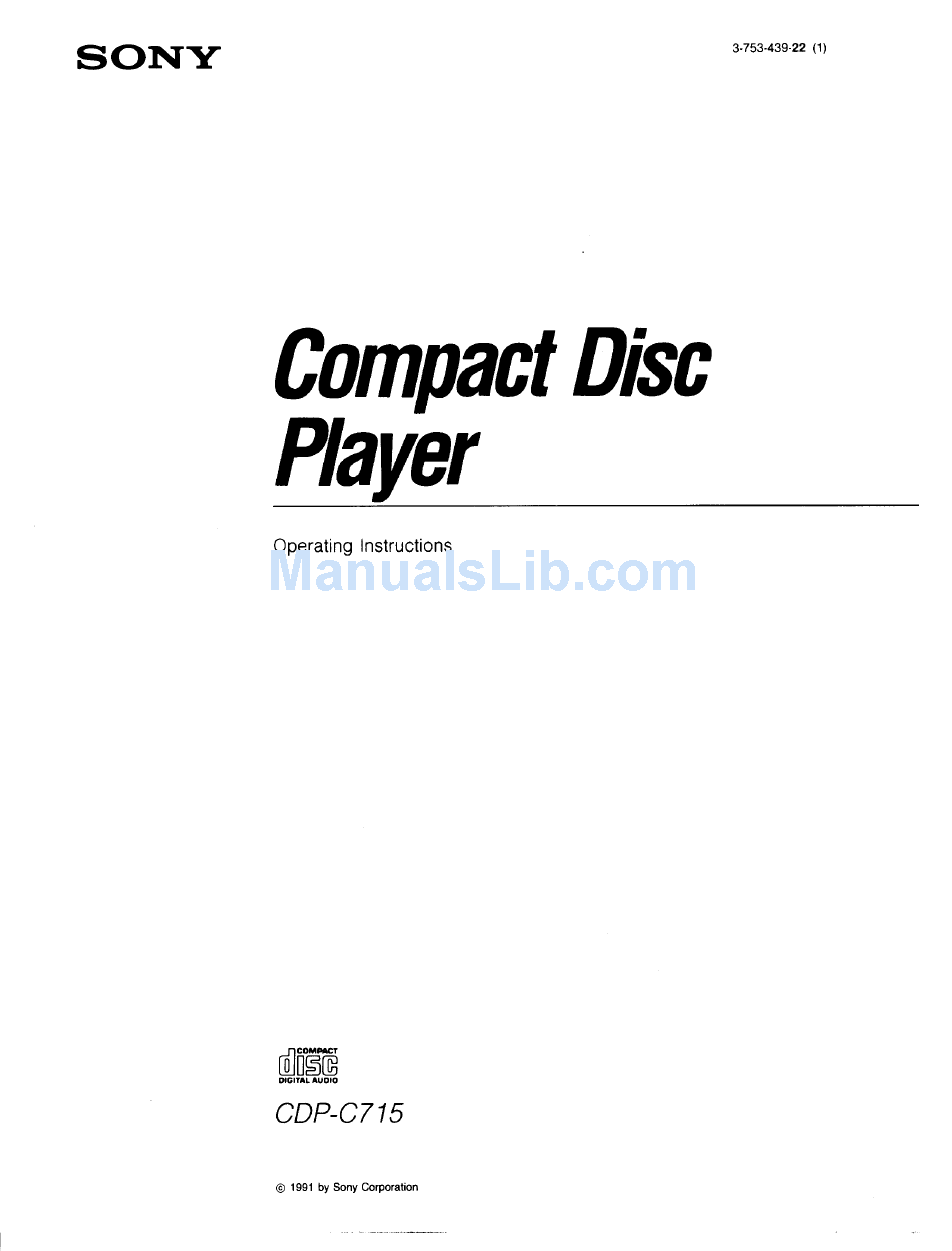 SONY CDP-C715 OPERATING INSTRUCTIONS MANUAL Pdf Download