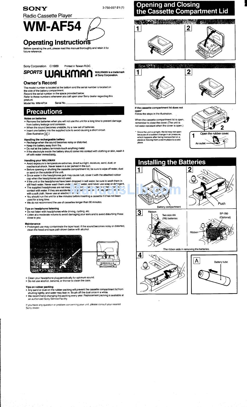 SONY WALKMAN WM-AF54 OPERATING INSTRUCTIONS Pdf Download