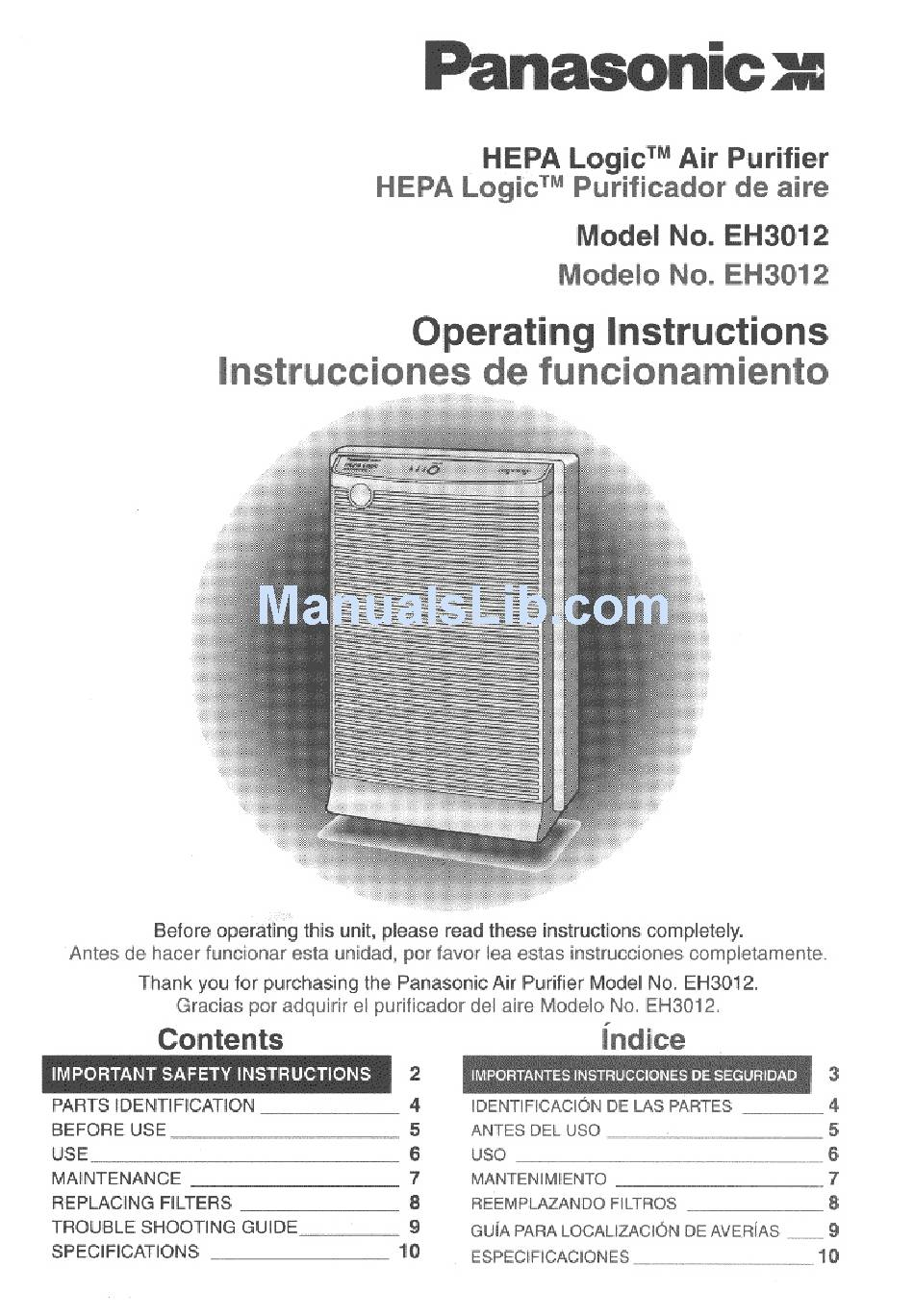 PANASONIC EH3012 OPERATING INSTRUCTIONS MANUAL Pdf