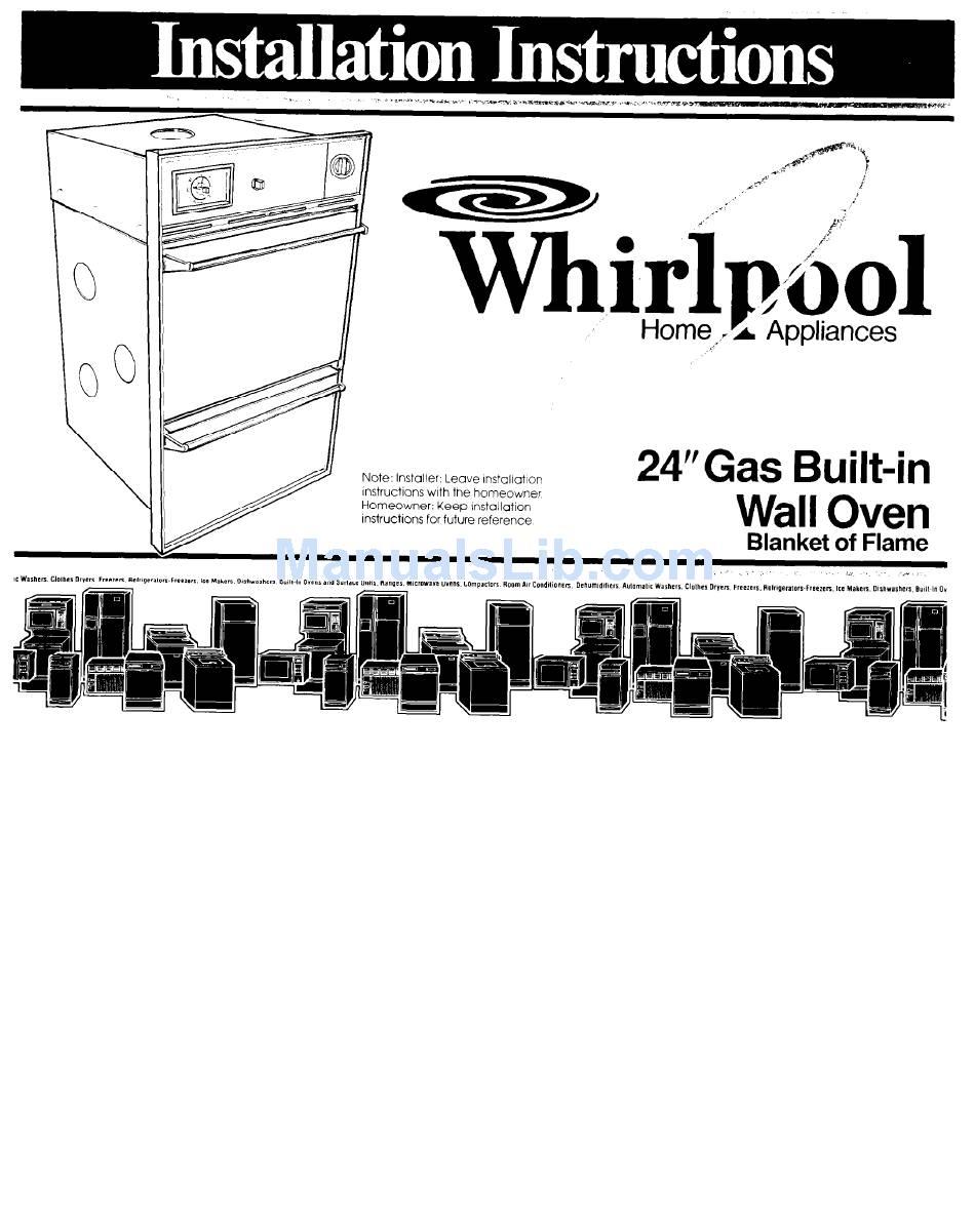 WHIRLPOOL 786804 INSTALLATION INSTRUCTIONS MANUAL Pdf
