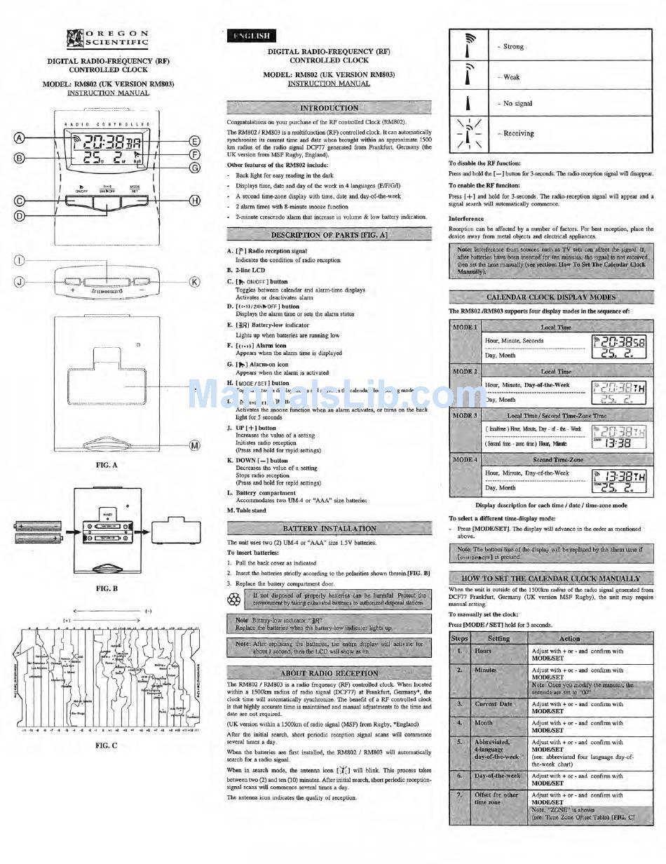 OREGON SCIENTIFIC RM802 INSTRUCTION MANUAL Pdf Download