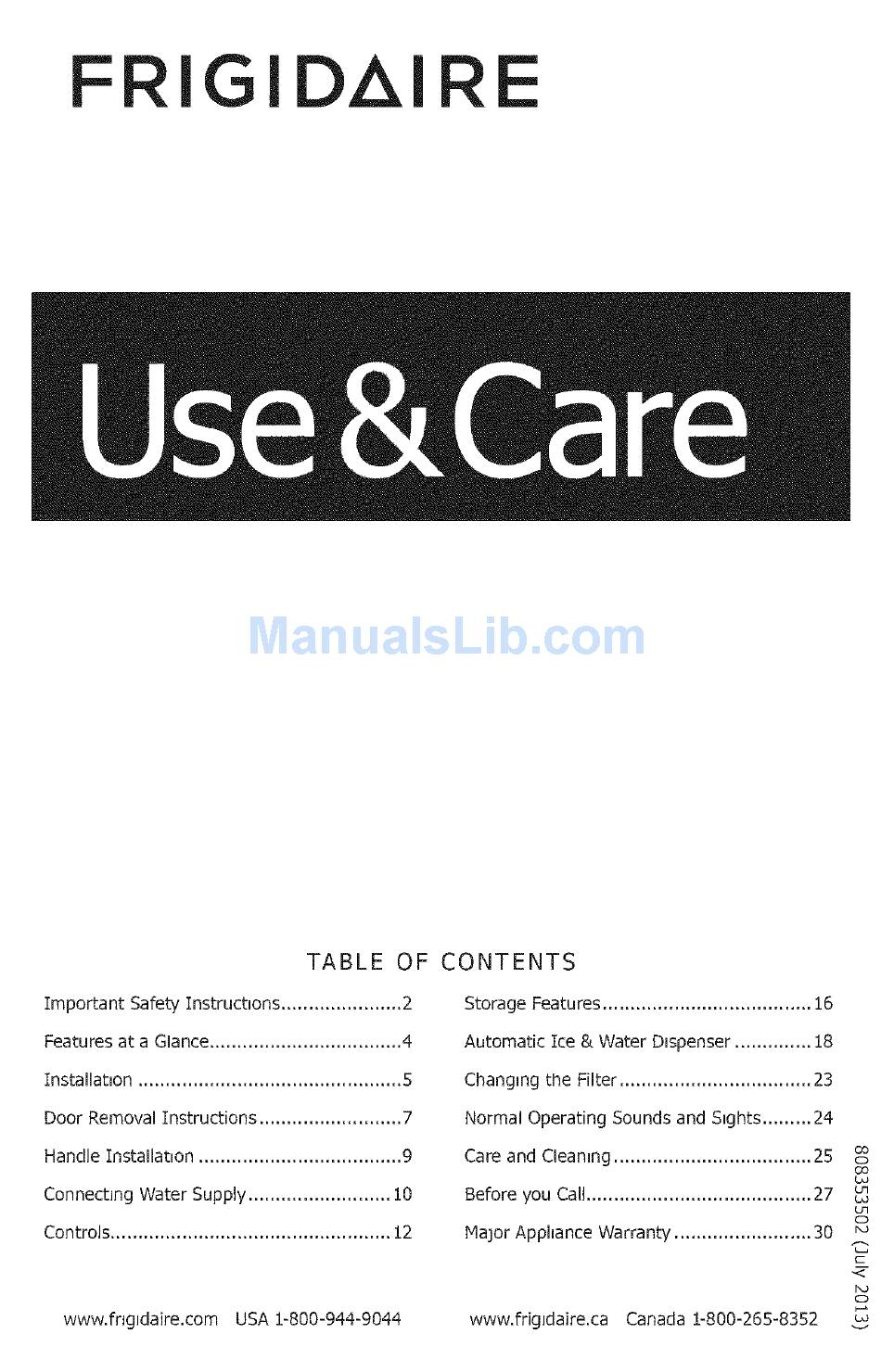 FRIGIDAIRE FFHS2622MSS USE & CARE MANUAL Pdf Download