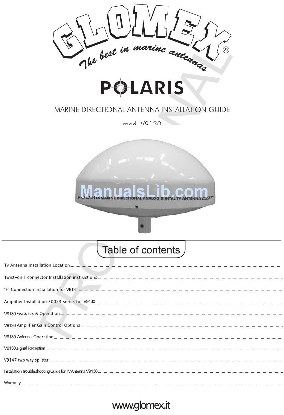 GLOMEX POLARIS V9130 INSTALLATION MANUAL Pdf Download