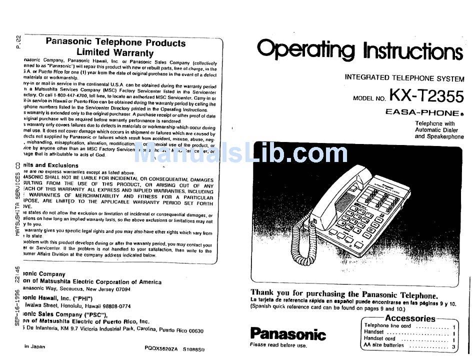 PANASONIC KX-T2355 EASA-PHONE OPERATING INSTRUCTIONS
