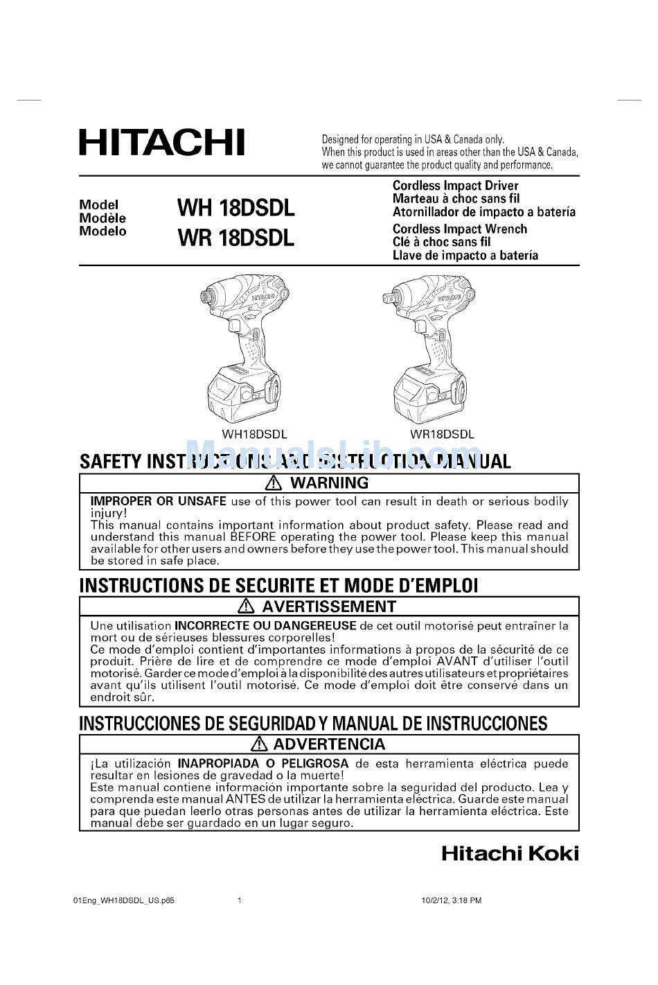 HITACHI WH 18DSDL SAFETY INSTRUCTIONS AND INSTRUCTION