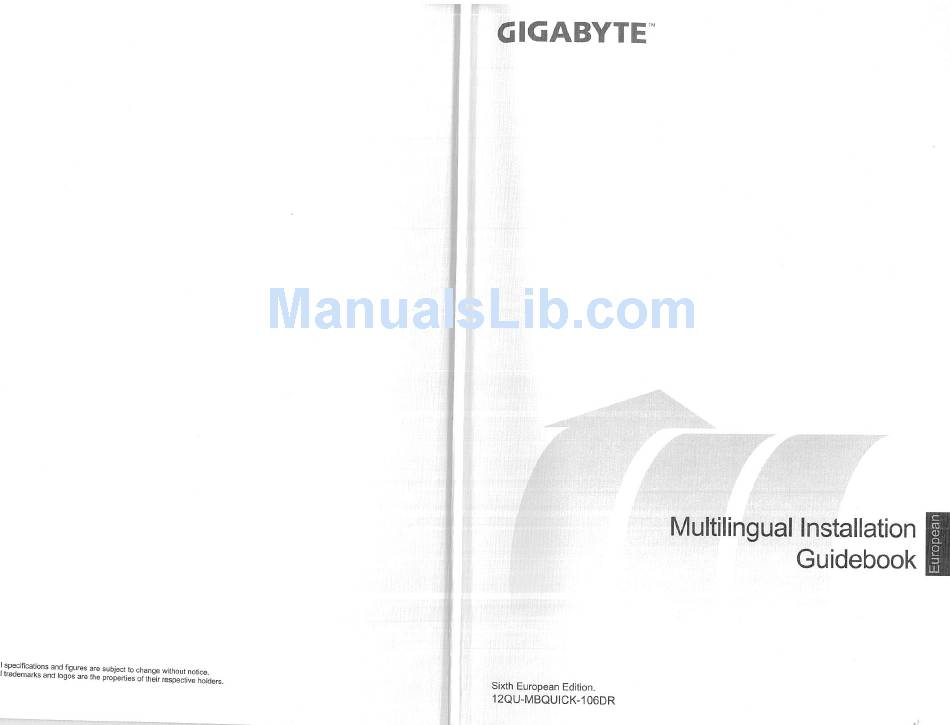 GIGABYTE 12QU-MBQUICK-106DR INSTALLATION MANUAL Pdf