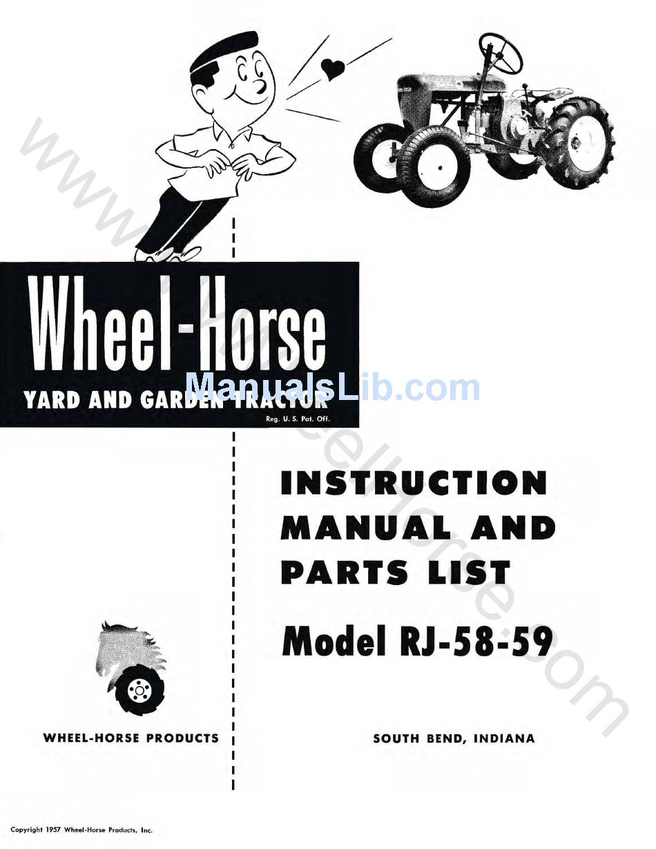 WHEEL HORSE RJ-58-59 INSTRUCTION MANUAL AND PARTS LIST Pdf