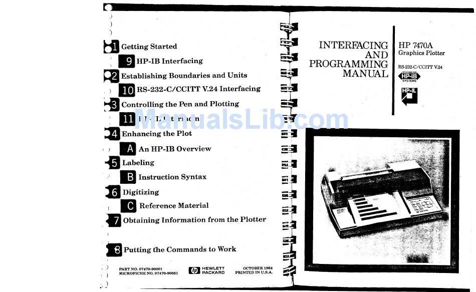 HP 7470A INTERFACING AND PROGRAMMING MANUAL Pdf Download