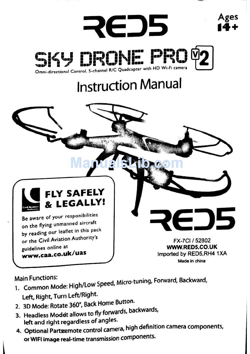 RED5 SKY DRONE PRO V2 INSTRUCTION MANUAL Pdf Download