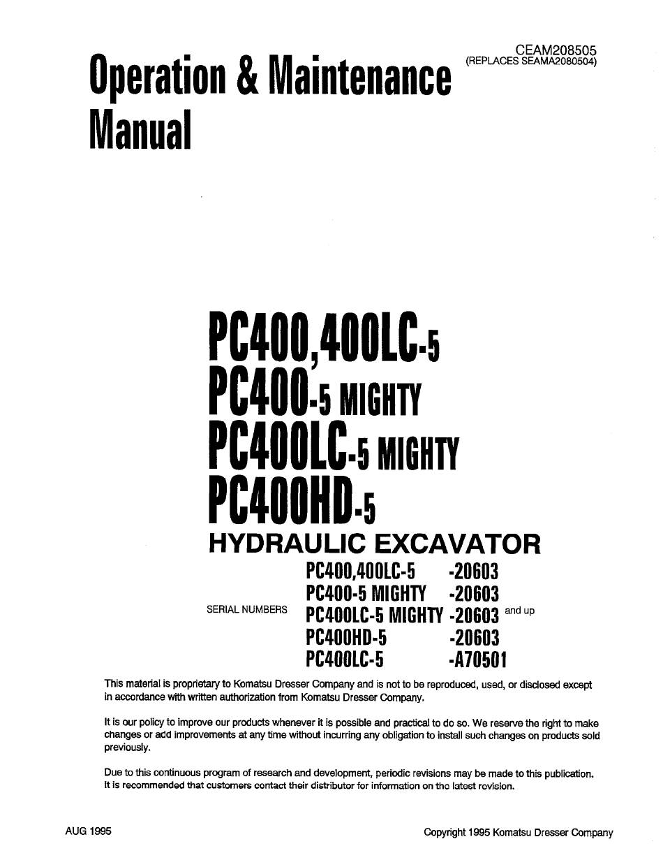 KOMATSU PC400LC-5 OPERATION & MAINTENANCE MANUAL Pdf