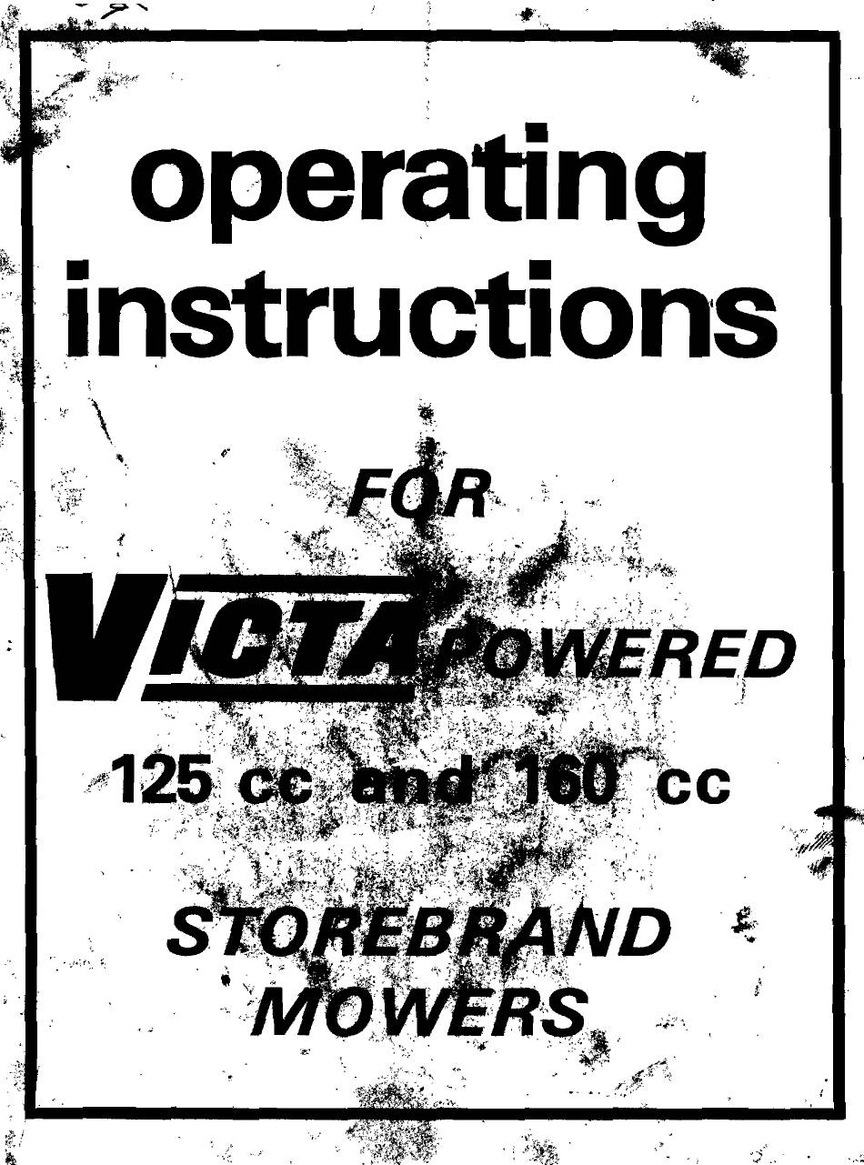 VICTA 125 CC OPERATING INSTRUCTIONS MANUAL Pdf Download