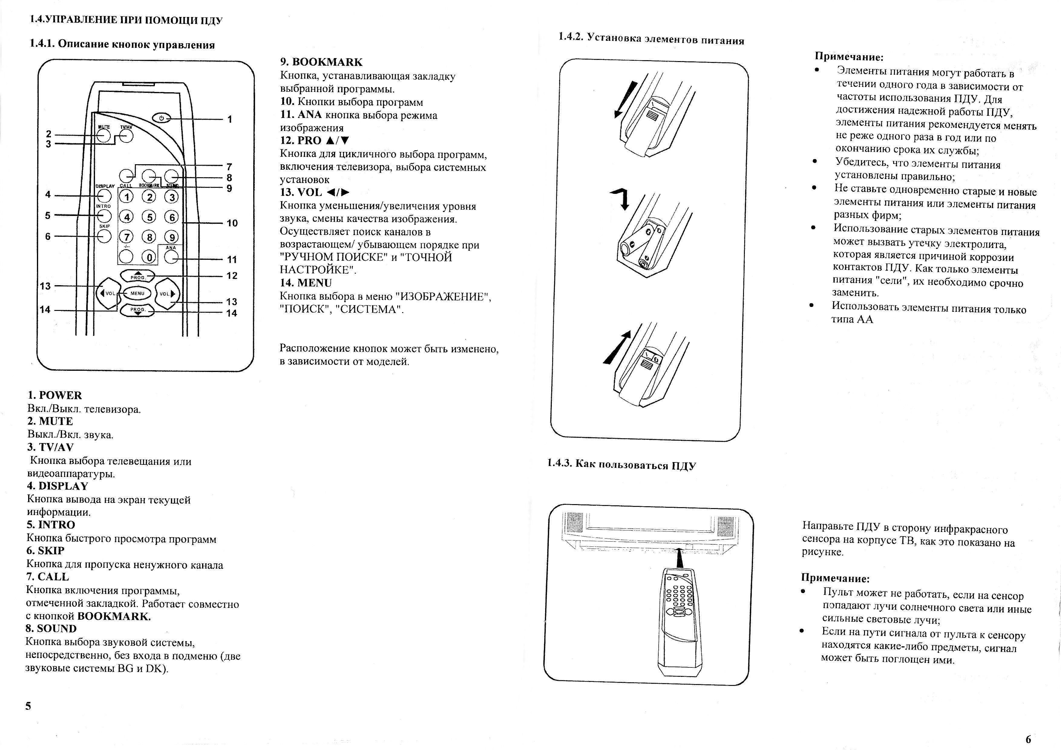 Инструкция телевизора AVEST 72ТЦ-02