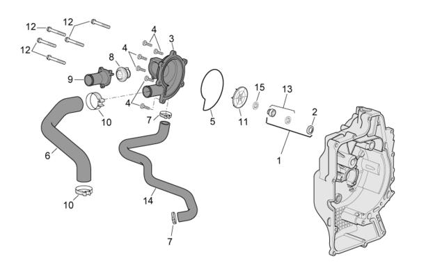Сальник водяной помпы (набор) PIAGGIO 125-500 4T дв.LEADER