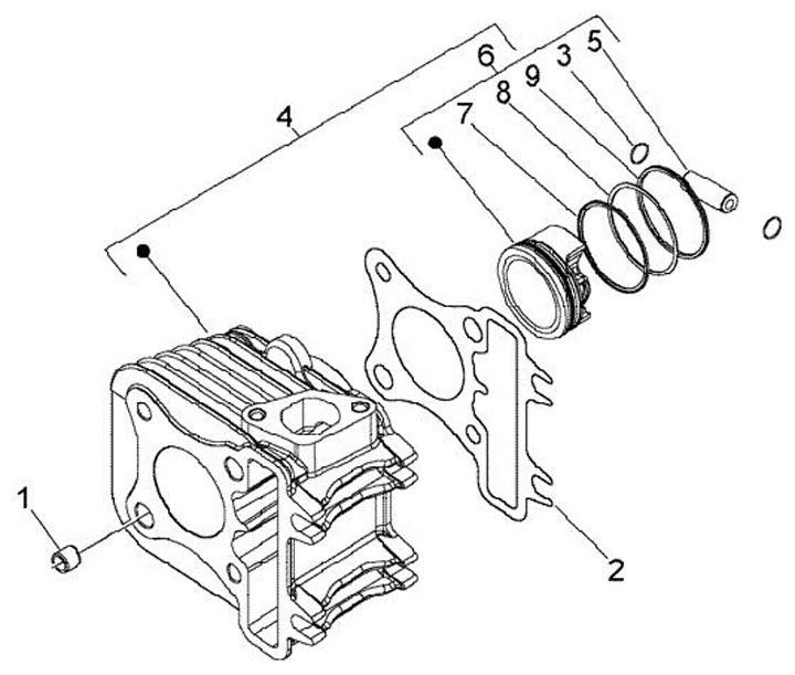 Кольца Piaggio, Aprilia, Gilera, Derbi, Vespa 4T 50 39мм