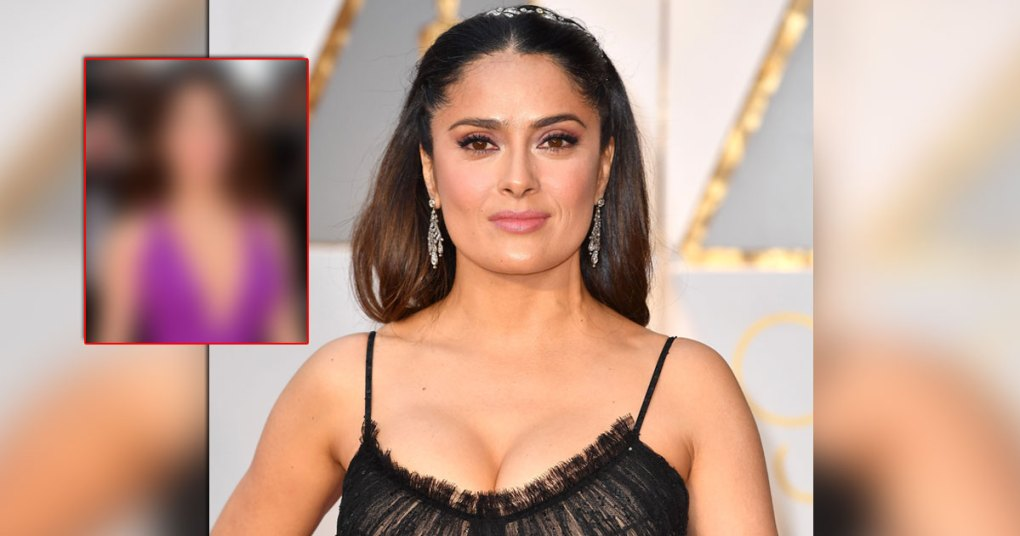 Salma Hayek Redefines Beauty In This Hot Purple Gown With A Plunging Neckline