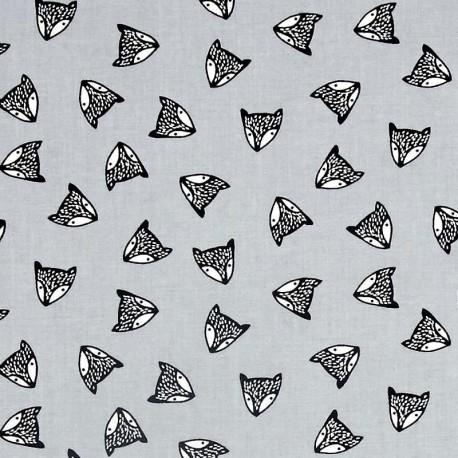 Fabric Dear Stella Adventure Awaits Fox Heads Shadow- grey