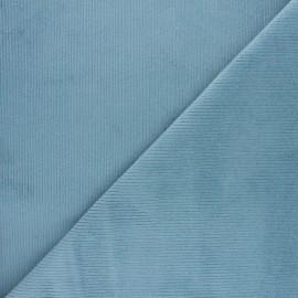 tissu velours 500 raies elasthanne destiny bleu ciel x 10cm