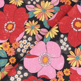 tissu toile de coton kokka sopo retro jambo rose x 10 cm
