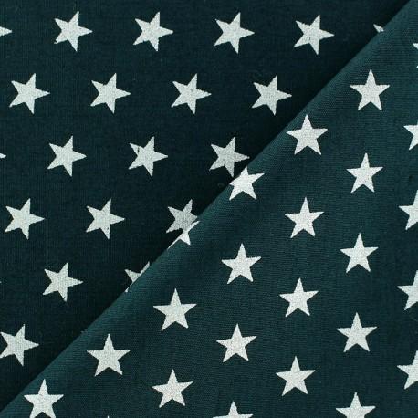 coupon 60 cm x 150 cm tissu noel etoiles argente fond vert sapin